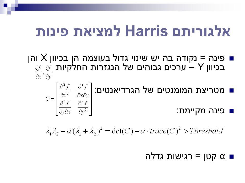 אלגוריתם Harris למציאת פינות פינה = נקודה בה יש שינוי גדול בעוצמה הן בכיוון X והן בכיוון Y – ערכים גבוהים של הנגזרות החלקיות מטריצת המומנטים של הגרדיא