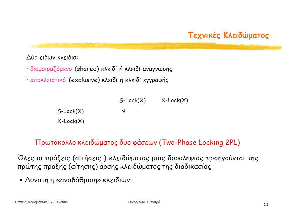 Βάσεις Δεδομένων II 2004-2005 Ευαγγελία Πιτουρά 11 Τεχνικές Κλειδώματος Δύο ειδών κλειδιά: διαμοιραζόμενο (shared) κλειδί ή κλειδί ανάγνωσης αποκλειστικό (exclusive) κλειδί ή κλειδί εγγραφής S-Lock(X) X-Lock(X) S-Lock(X)  X-Lock(X) Πρωτόκολλο κλειδώματος δυο φάσεων (Two-Phase Locking 2PL) Όλες οι πράξεις (αιτήσεις ) κλειδώματος μιας δοσοληψίας προηγούνται της πρώτης πράξης (αίτησης) άρσης κλειδώματος της διαδικασίας  Δυνατή η «αναβάθμιση» κλειδιών