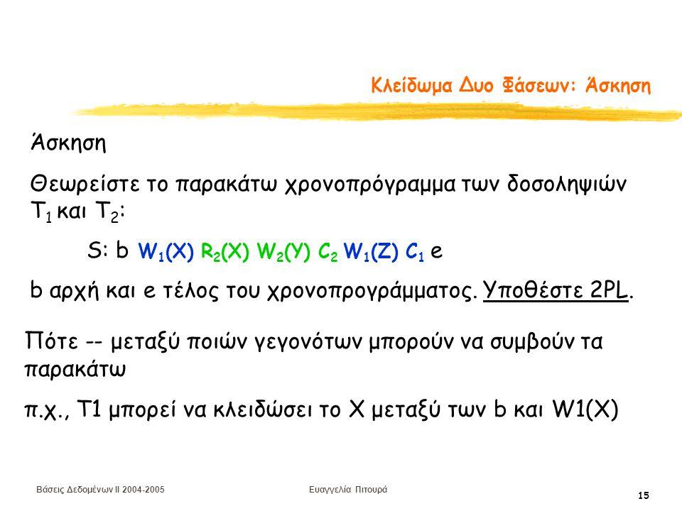 Βάσεις Δεδομένων II 2004-2005 Ευαγγελία Πιτουρά 15 Κλείδωμα Δυο Φάσεων: Άσκηση Άσκηση Θεωρείστε το παρακάτω χρονοπρόγραμμα των δοσοληψιών T 1 και Τ 2 : S: b W 1 (X) R 2 (X) W 2 (Y) C 2 W 1 (Z) C 1 e b αρχή και e τέλος του χρονοπρογράμματος.