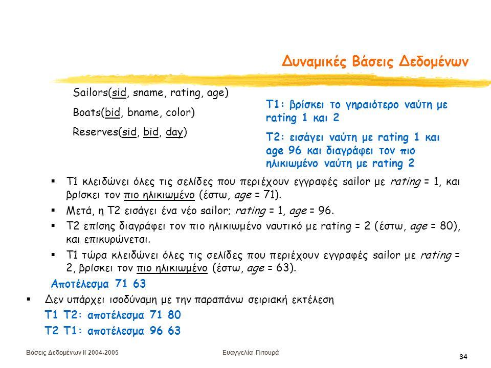 Βάσεις Δεδομένων II 2004-2005 Ευαγγελία Πιτουρά 34 Δυναμικές Βάσεις Δεδομένων  T1 κλειδώνει όλες τις σελίδες που περιέχουν εγγραφές sailor με rating = 1, και βρίσκει τον πιο ηλικιωμένο (έστω, age = 71).
