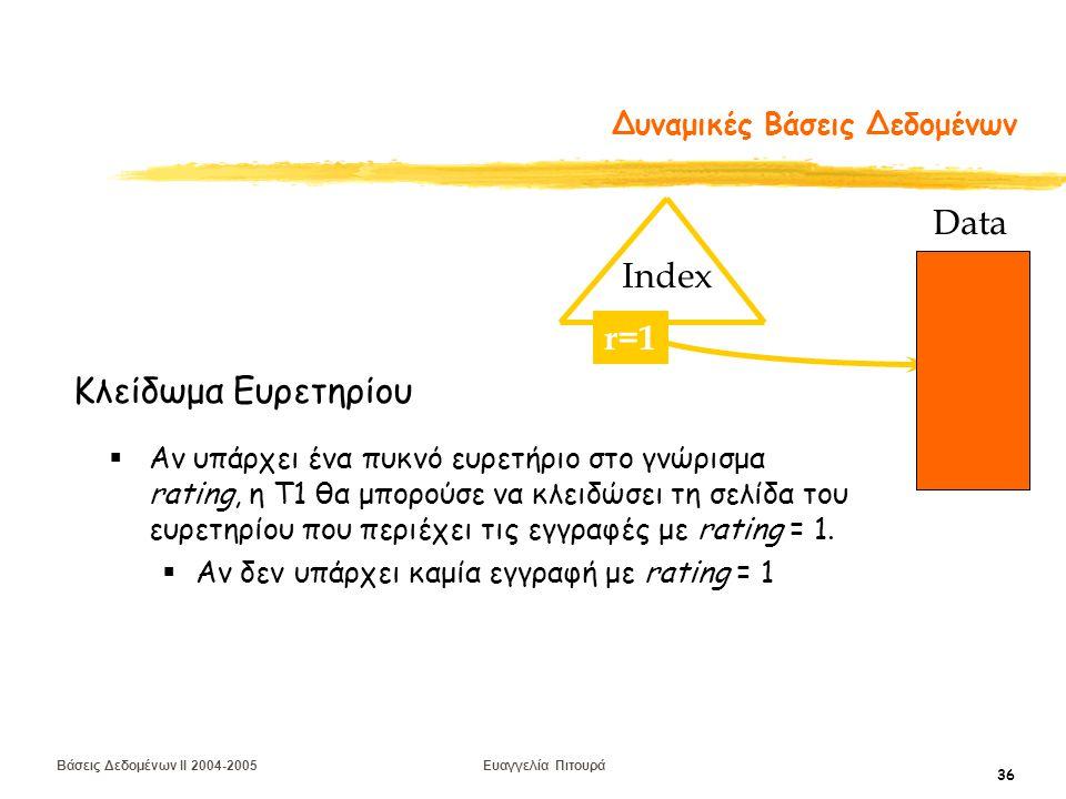 Βάσεις Δεδομένων II 2004-2005 Ευαγγελία Πιτουρά 36 Δυναμικές Βάσεις Δεδομένων  Αν υπάρχει ένα πυκνό ευρετήριο στο γνώρισμα rating, η T1 θα μπορούσε να κλειδώσει τη σελίδα του ευρετηρίου που περιέχει τις εγγραφές με rating = 1.