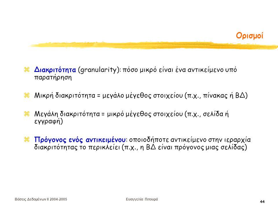 Βάσεις Δεδομένων II 2004-2005 Ευαγγελία Πιτουρά 44 Ορισμοί zΔιακριτότητα (granularity): πόσο μικρό είναι ένα αντικείμενο υπό παρατήρηση zΜικρή διακριτότητα = μεγάλο μέγεθος στοιχείου (π.χ., πίνακας ή ΒΔ) zΜεγάλη διακριτότητα = μικρό μέγεθος στοιχείου (π.χ., σελίδα ή εγγραφή) zΠρόγονος ενός αντικειμένου: οποιοδήποτε αντικείμενο στην ιεραρχία διακριτότητας το περικλείει (π.χ., η ΒΔ είναι πρόγονος μιας σελίδας)