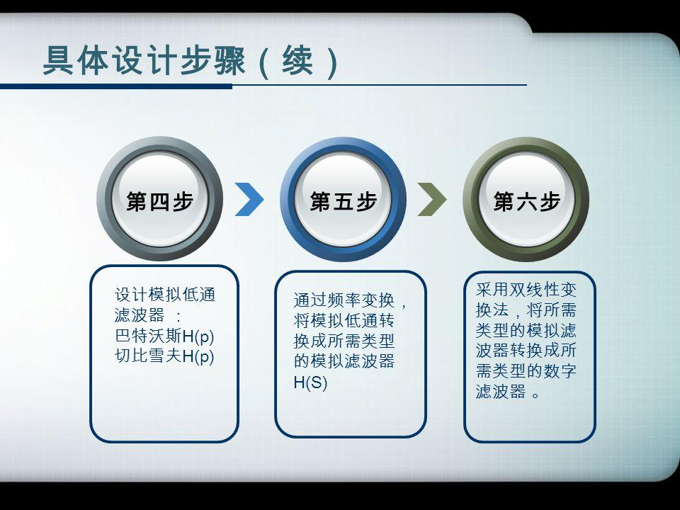 具体设计步骤(续) 第四步第五步第六步 设计模拟低通 滤波器 : 巴特沃斯 H(p) 切比雪夫 H(p) 采用双线性变 换法,将所需 类型的模拟滤 波器转换成所 需类型的数字 滤波器 。 通过频率变换, 将模拟低通转 换成所需类型 的模拟滤波器 H(S)