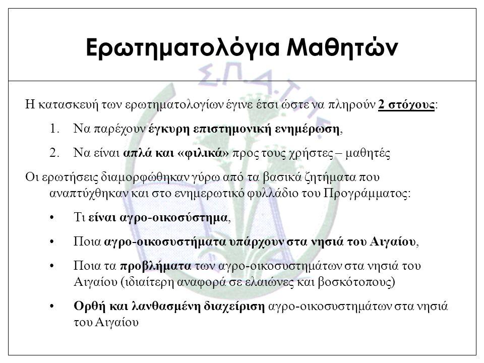 Ερωτηματολόγια Συμμετεχόντων Τα ερωτηματολόγια συμμετεχόντων χρησιμοποιήθηκαν για την αξιολόγηση του Προγράμματος.