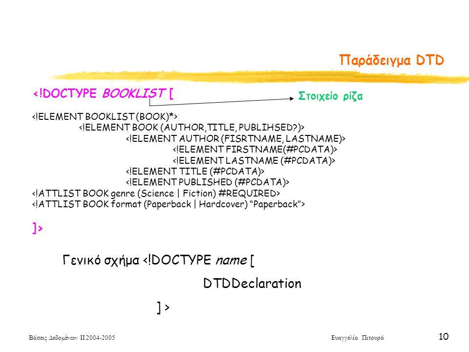 Βάσεις Δεδομένων ΙΙ 2004-2005 Ευαγγελία Πιτουρά 10 <!DOCTYPE BOOKLIST [ ]> Παράδειγμα DTD Γενικό σχήμα <!DOCTYPE name [ DTDDeclaration ] > Στοιχείο ρίζα
