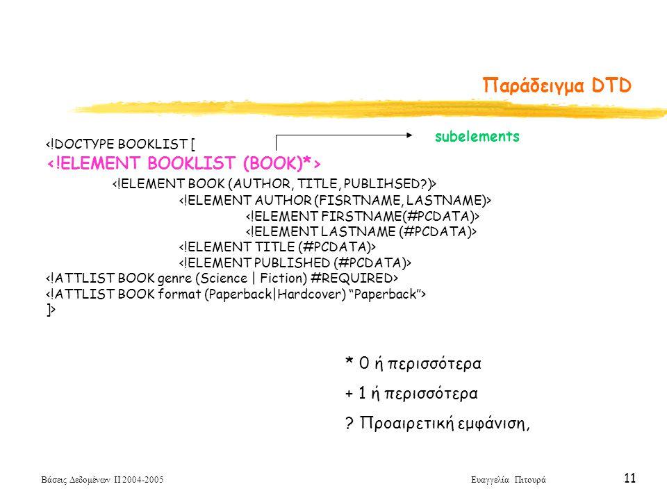 Βάσεις Δεδομένων ΙΙ 2004-2005 Ευαγγελία Πιτουρά 11 <!DOCTYPE BOOKLIST [ ]> Παράδειγμα DTD * 0 ή περισσότερα + 1 ή περισσότερα .