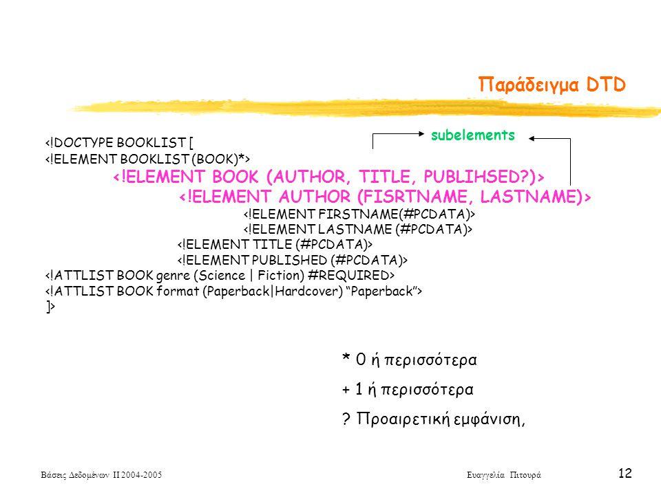 Βάσεις Δεδομένων ΙΙ 2004-2005 Ευαγγελία Πιτουρά 12 <!DOCTYPE BOOKLIST [ ]> Παράδειγμα DTD * 0 ή περισσότερα + 1 ή περισσότερα .