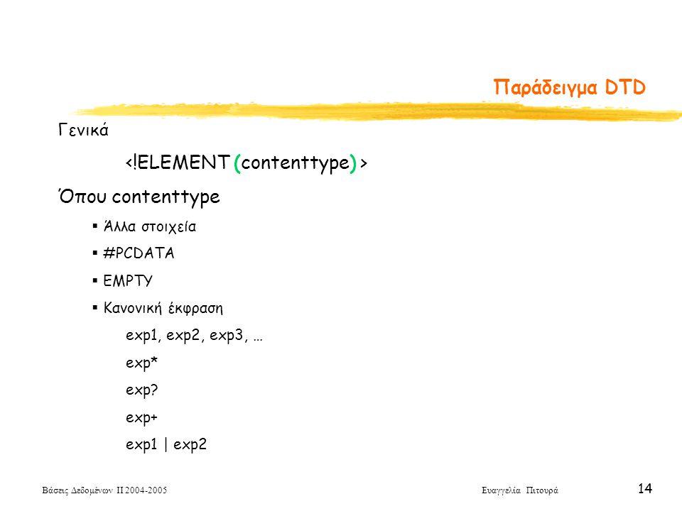 Βάσεις Δεδομένων ΙΙ 2004-2005 Ευαγγελία Πιτουρά 14 Παράδειγμα DTD Γενικά Όπου contenttype  Άλλα στοιχεία  #PCDATA  EMPTY  Κανονική έκφραση exp1, exp2, exp3, … exp* exp.
