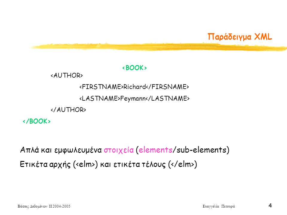 Βάσεις Δεδομένων ΙΙ 2004-2005 Ευαγγελία Πιτουρά 4 Παράδειγμα XML Richard Feymann Απλά και εμφωλευμένα στοιχεία (elements/sub-elements) Ετικέτα αρχής ( ) και ετικέτα τέλους ( )