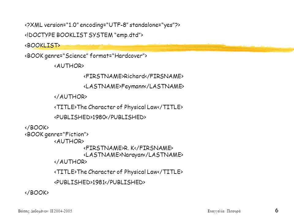 Βάσεις Δεδομένων ΙΙ 2004-2005 Ευαγγελία Πιτουρά 27 O Αλγόριθμος HITS Φάση ΙΙ: Ποιες βασικές ιστοσελίδες είναι κόμβοι και αυθεντίες Κάθε βασική σελίδα p δύο τιμές: h p - Συντελεστής Κομβικού Ρόλου (πολλούς δείκτες σε αυθεντικές) a p - Συντελεστής Αυθεντικότητας (πολλοί δείκτες από κομβικές σε αυτήν) Αρχικοποίηση,  p, h p = 1 και α p = 1 Επαναληπτικά, αυξάνεται a p = Σ h q Βασικές σελίδες q που δείχνουν στην p h p = Σ α q Βασικές σελίδες q στις οποίες δείχνει η p