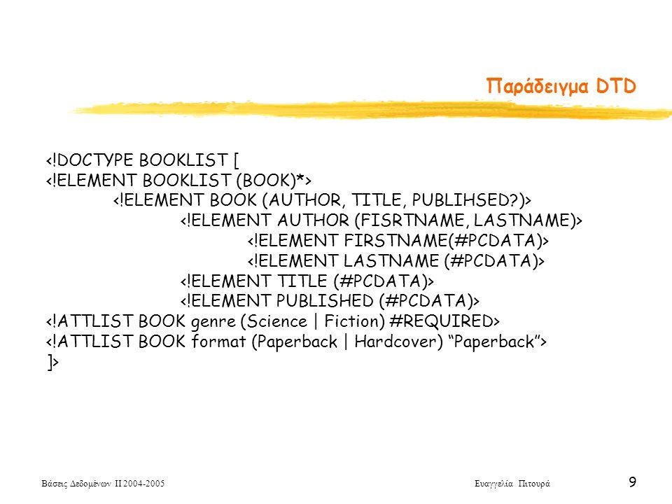 Βάσεις Δεδομένων ΙΙ 2004-2005 Ευαγγελία Πιτουρά 9 <!DOCTYPE BOOKLIST [ ]> Παράδειγμα DTD