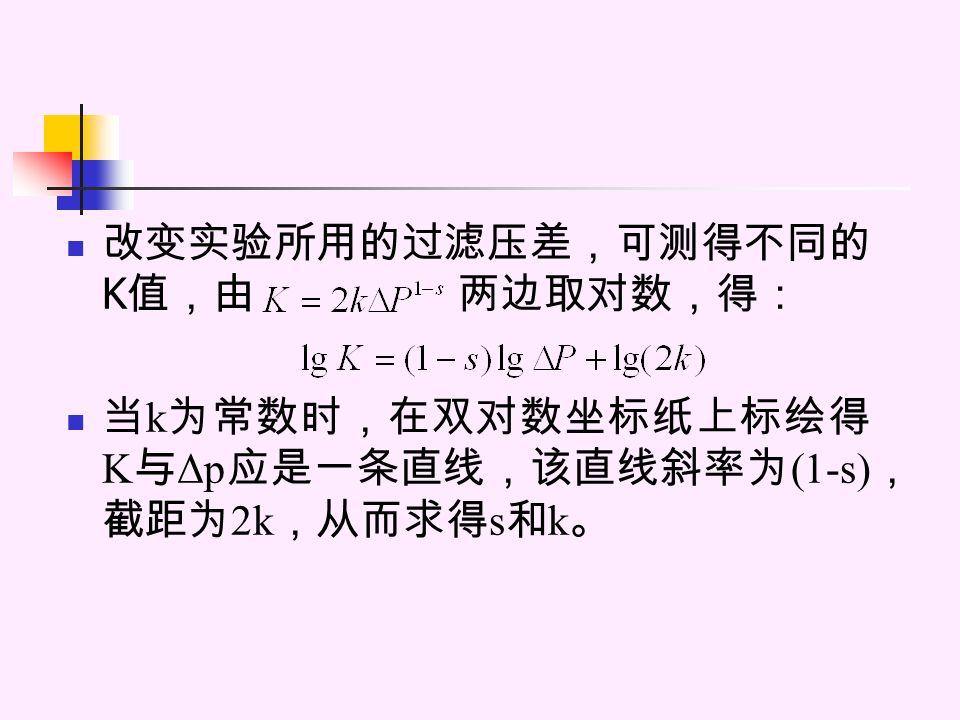 改变实验所用的过滤压差,可测得不同的 K 值,由 两边取对数,得: 当 k 为常数时,在双对数坐标纸上标绘得 K 与 Δp 应是一条直线,该直线斜率为 (1-s) , 截距为 2k ,从而求得 s 和 k 。