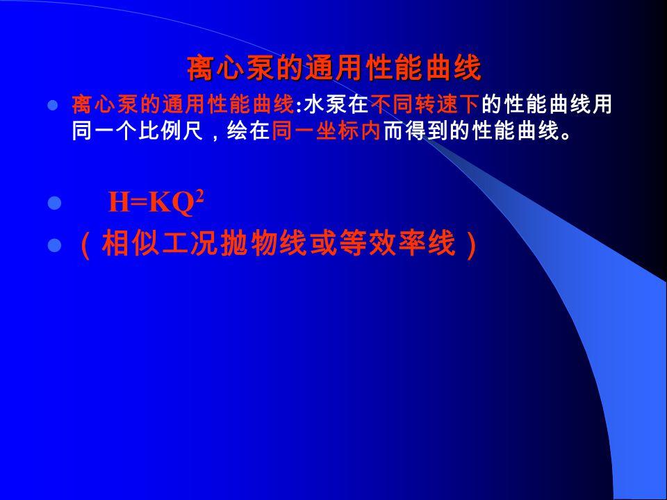 离心泵的试验性能曲线 : 在一定的转速下测定水泵扬程、轴功率、效 率与流量之间的关系,并绘出完整的性能曲线。 水泵样本或产品目录中除了以性能曲线表示水泵的性能外,还以表 格的形式给出水泵的性能。 12SH-6 型泵性能表 水泵 型号 流量 Q 扬程 H(m) 转速 n (r/min) 功率 P (K