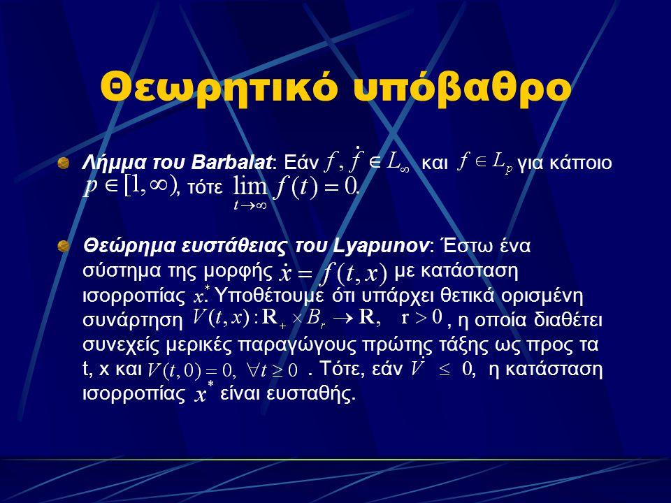 Θεωρητικό υπόβαθρο Λήμμα του Barbalat: Εάν και για κάποιο, τότε. Θεώρημα ευστάθειας του Lyapunov: Έστω ένα σύστημα της μορφής με κατάσταση ισορροπίας.
