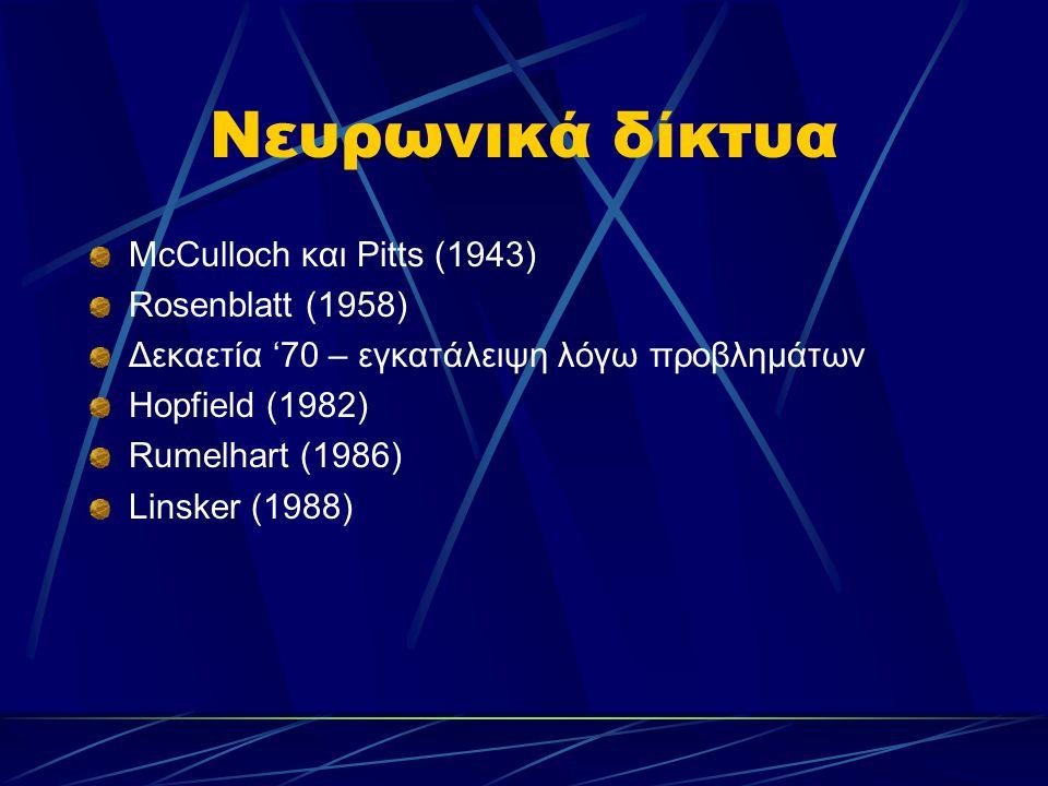 Νευρωνικά δίκτυα McCulloch και Pitts (1943) Rosenblatt (1958) Δεκαετία '70 – εγκατάλειψη λόγω προβλημάτων Hopfield (1982) Rumelhart (1986) Linsker (19
