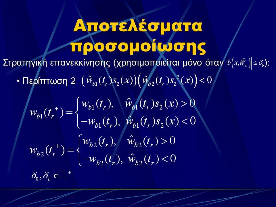 Αποτελέσματα προσομοίωσης Περίπτωση 2 Περίπτωση 2 Στρατηγική επανεκκίνησης (χρησιμοποιείται μόνο όταν ):