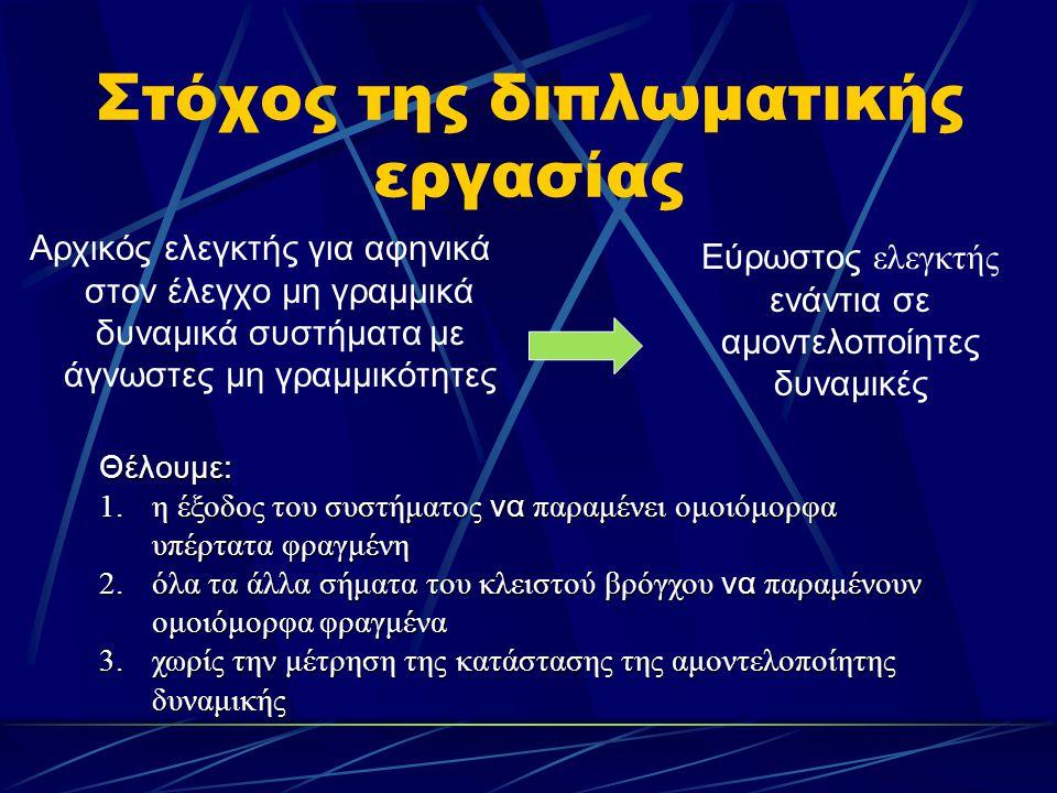 Στόχος της διπλωματικής εργασίας Αρχικός ελεγκτής για αφηνικά στον έλεγχο μη γραμμικά δυναμικά συστήματα με άγνωστες μη γραμμικότητες Εύρωστος ελεγκτή
