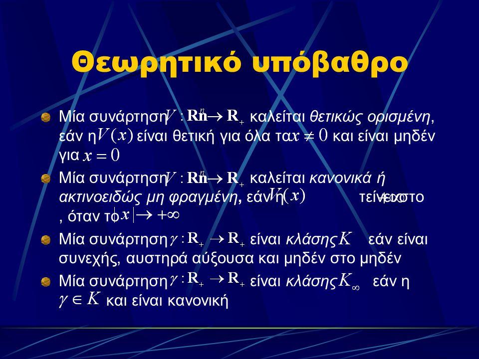 Θεωρητικό υπόβαθρο Μία συνάρτηση καλείται θετικώς ορισμένη, εάν η είναι θετική για όλα τα και είναι μηδέν για Μία συνάρτηση καλείται κανονικά ή ακτινο