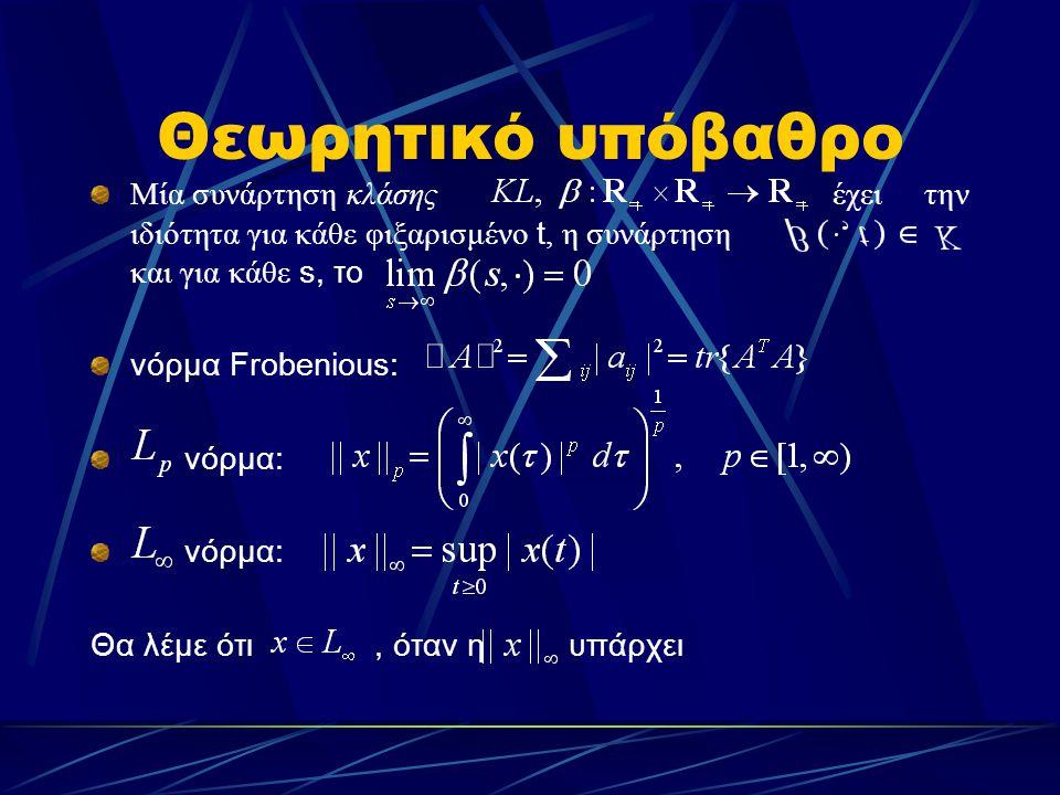 Θεωρητικό υπόβαθρο Μία συνάρτηση κλάσης έχει την ιδιότητα για κάθε φιξαρισμένο t, η συνάρτηση και για κάθε s, το νόρμα Frobenious: νόρμα: Θα λέμε ότι,