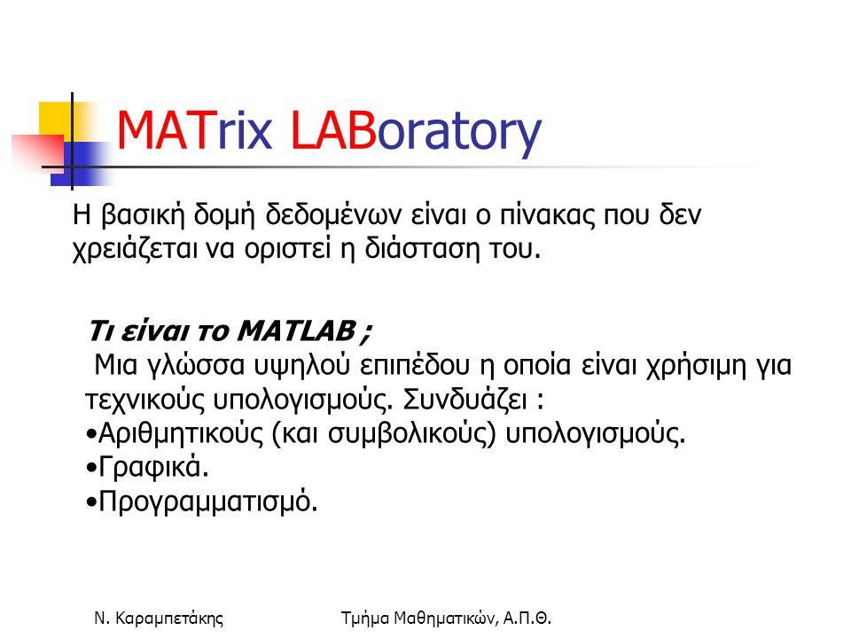 Ν. ΚαραμπετάκηςΤμήμα Μαθηματικών, Α.Π.Θ. MATrix LABoratory Η βασική δομή δεδομένων είναι ο πίνακας που δεν χρειάζεται να οριστεί η διάσταση του. Τι εί