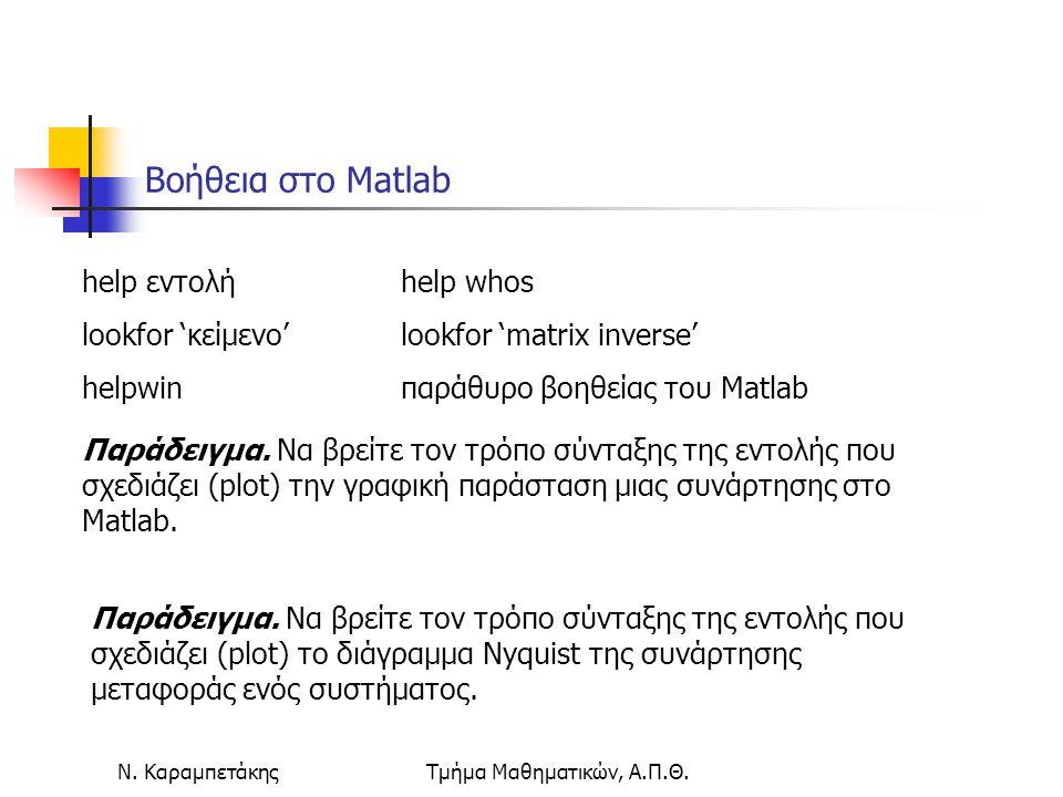 Ν. ΚαραμπετάκηςΤμήμα Μαθηματικών, Α.Π.Θ. Βοήθεια στο Matlab help εντολή help whos lookfor 'κείμενο' lookfor 'matrix inverse' helpwinπαράθυρο βοηθείας