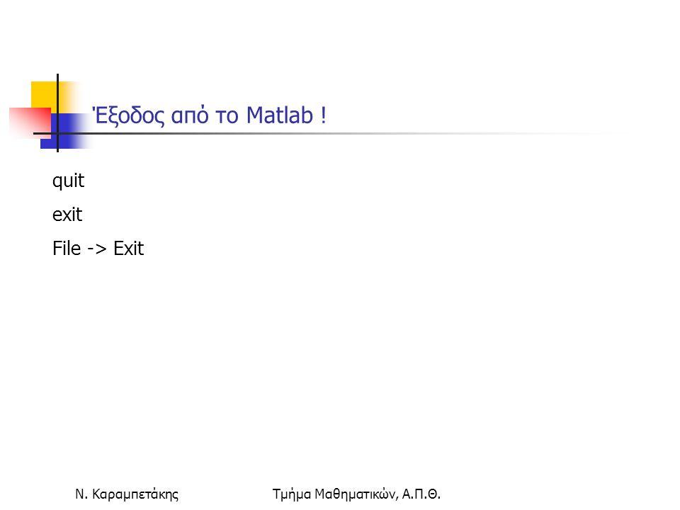 Ν. ΚαραμπετάκηςΤμήμα Μαθηματικών, Α.Π.Θ. Έξοδος από το Matlab ! quit exit File -> Exit