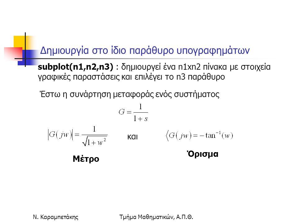 Ν. ΚαραμπετάκηςΤμήμα Μαθηματικών, Α.Π.Θ. Δημιουργία στο ίδιο παράθυρο υπογραφημάτων subplot(n1,n2,n3) : δημιουργεί ένα n1xn2 πίνακα με στοιχεία γραφικ