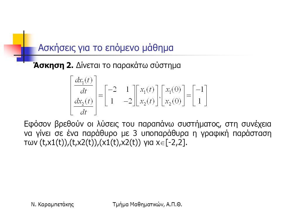 Ν. ΚαραμπετάκηςΤμήμα Μαθηματικών, Α.Π.Θ. Ασκήσεις για το επόμενο μάθημα Άσκηση 2. Δίνεται το παρακάτω σύστημα Εφόσον βρεθούν οι λύσεις του παραπάνω συ