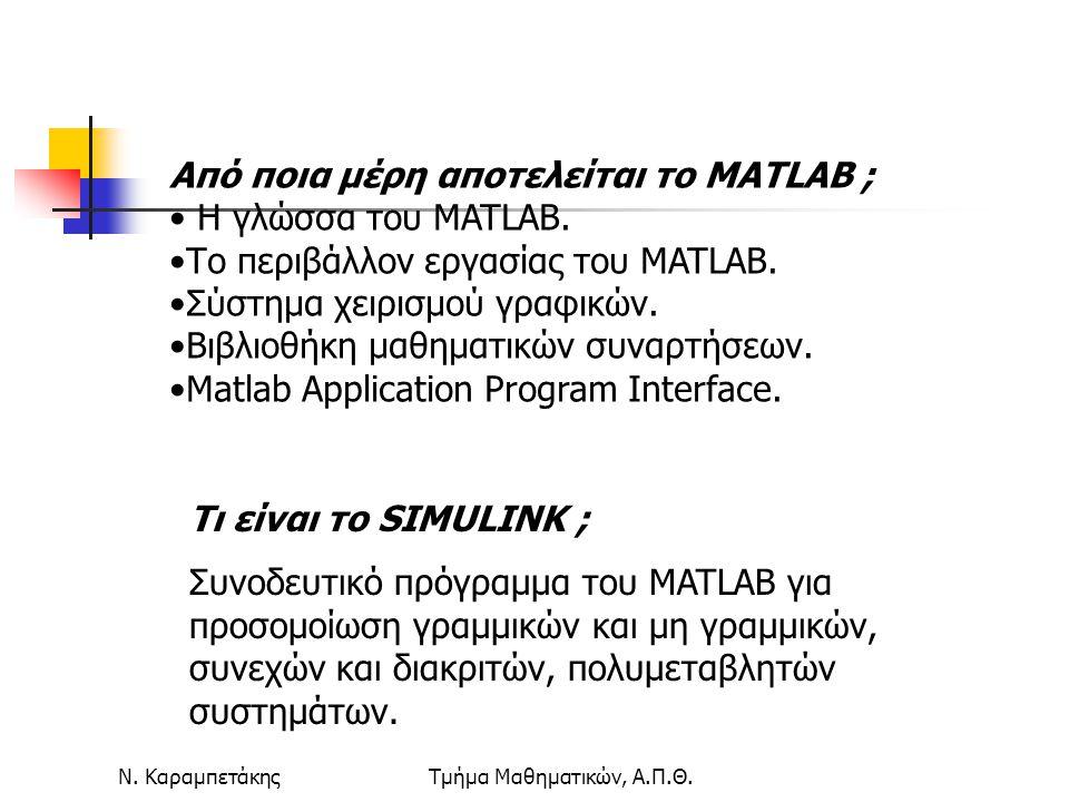 Ν. ΚαραμπετάκηςΤμήμα Μαθηματικών, Α.Π.Θ. Από ποια μέρη αποτελείται το MATLAB ; Η γλώσσα του MATLAB. Το περιβάλλον εργασίας του MATLAB. Σύστημα χειρισμ