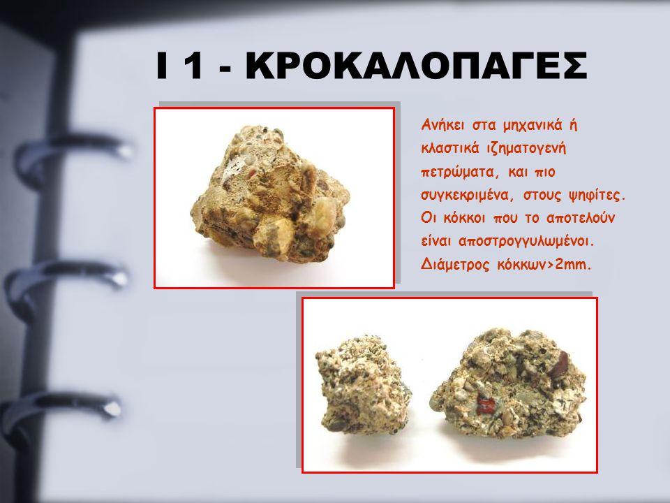Ι 1 - ΚΡΟΚΑΛΟΠΑΓΕΣ Ανήκει στα μηχανικά ή κλαστικά ιζηματογενή πετρώματα, και πιο συγκεκριμένα, στους ψηφίτες. Οι κόκκοι που το αποτελούν είναι αποστρο