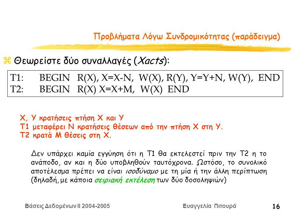 Βάσεις Δεδομένων II 2004-2005 Ευαγγελία Πιτουρά 16 Προβλήματα Λόγω Συνδρομικότητας (παράδειγμα) zΘεωρείστε δύο συναλλαγές (Xacts): T1:BEGIN R(X), X=Χ-N, W(X), R(Y), Y=Y+N, W(Y), END T2:BEGIN R(X) X=X+M, W(X) END Χ, Υ κρατήσεις πτήση Χ και Υ T1 μεταφέρει Ν κρατήσεις θέσεων από την πτήση Χ στη Y.