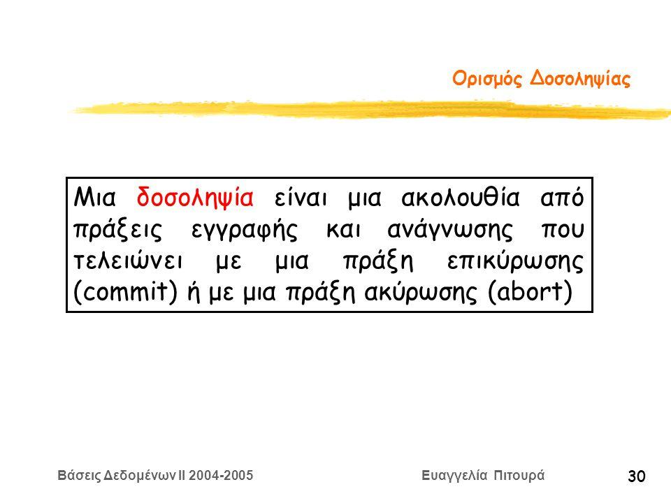 Βάσεις Δεδομένων II 2004-2005 Ευαγγελία Πιτουρά 30 Ορισμός Δοσοληψίας Μια δοσοληψία είναι μια ακολουθία από πράξεις εγγραφής και ανάγνωσης που τελειώνει με μια πράξη επικύρωσης (commit) ή με μια πράξη ακύρωσης (abort)