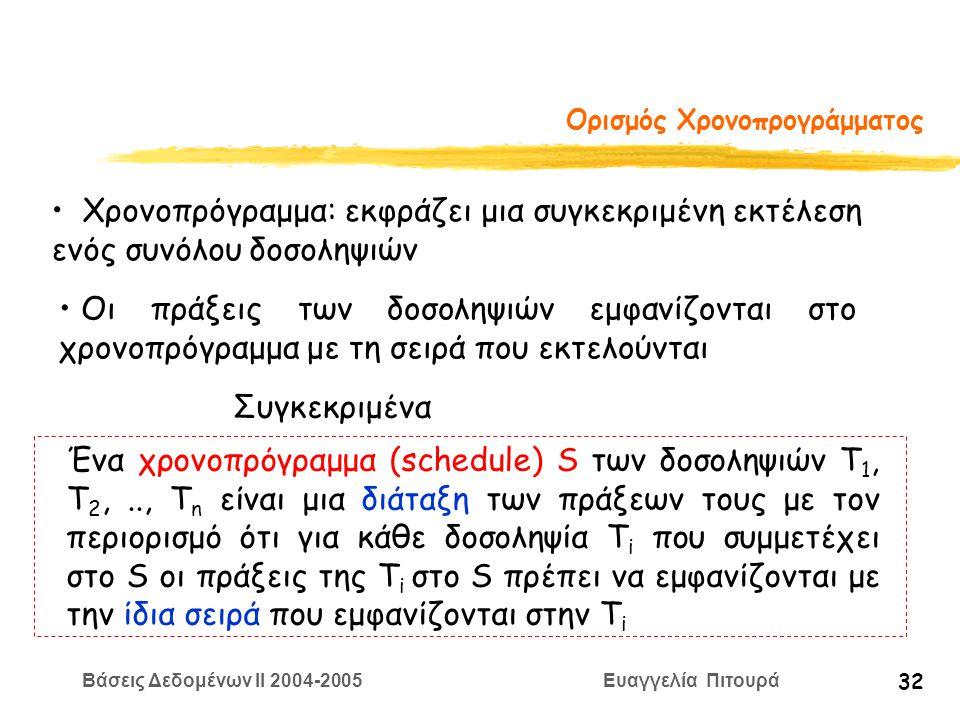 Βάσεις Δεδομένων II 2004-2005 Ευαγγελία Πιτουρά 32 Ορισμός Χρονοπρογράμματος Χρονοπρόγραμμα: εκφράζει μια συγκεκριμένη εκτέλεση ενός συνόλου δοσοληψιών Οι πράξεις των δοσοληψιών εμφανίζονται στο χρονοπρόγραμμα με τη σειρά που εκτελούνται Συγκεκριμένα Ένα χρονοπρόγραμμα (schedule) S των δοσοληψιών T 1, T 2,.., T n είναι μια διάταξη των πράξεων τους με τον περιορισμό ότι για κάθε δοσοληψία T i που συμμετέχει στο S οι πράξεις της T i στο S πρέπει να εμφανίζονται με την ίδια σειρά που εμφανίζονται στην T i