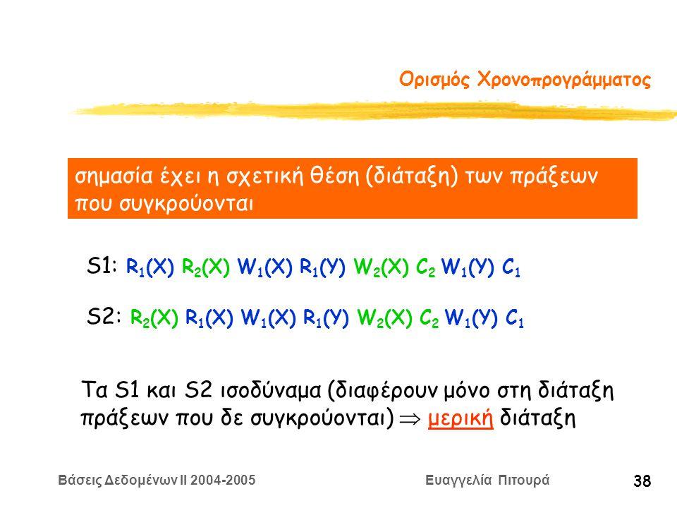 Βάσεις Δεδομένων II 2004-2005 Ευαγγελία Πιτουρά 38 Ορισμός Χρονοπρογράμματος σημασία έχει η σχετική θέση (διάταξη) των πράξεων που συγκρούονται S1: R 1 (X) R 2 (X) W 1 (X) R 1 (Y) W 2 (X) C 2 W 1 (Y) C 1 S2: R 2 (X) R 1 (X) W 1 (X) R 1 (Y) W 2 (X) C 2 W 1 (Y) C 1 Τα S1 και S2 ισοδύναμα (διαφέρουν μόνο στη διάταξη πράξεων που δε συγκρούονται)  μερική διάταξη