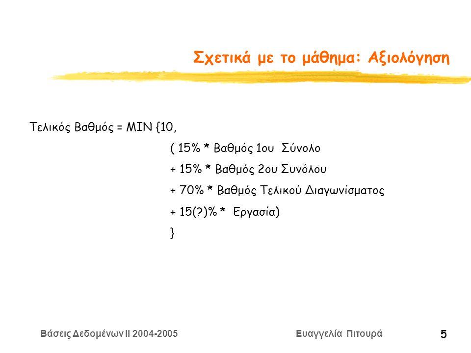 Βάσεις Δεδομένων II 2004-2005 Ευαγγελία Πιτουρά 5 Σχετικά με το μάθημα: Αξιολόγηση Τελικός Βαθμός = ΜΙΝ {10, ( 15% * Βαθμός 1ου Σύνολο + 15% * Βαθμός 2ου Συνόλου + 70% * Βαθμός Τελικού Διαγωνίσματος + 15( )% * Εργασία) }