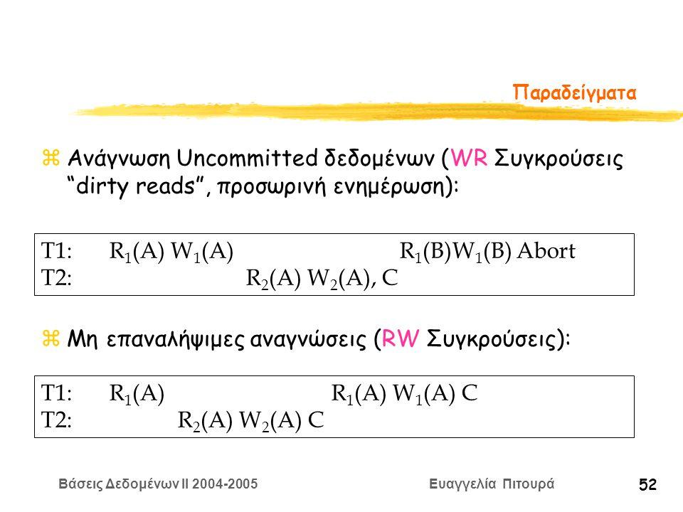 Βάσεις Δεδομένων II 2004-2005 Ευαγγελία Πιτουρά 52 Παραδείγματα zΑνάγνωση Uncommitted δεδομένων (WR Συγκρούσεις dirty reads , προσωρινή ενημέρωση): zΜη επαναλήψιμες αναγνώσεις (RW Συγκρούσεις): T1: R 1 (A) W 1 (A) R 1 (B)W 1 (B) Abort T2:R 2 (A) W 2 (A), C T1:R 1 (A) R 1 (A) W 1 (A) C T2:R 2 (A) W 2 (A) C