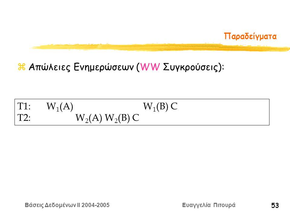 Βάσεις Δεδομένων II 2004-2005 Ευαγγελία Πιτουρά 53 Παραδείγματα zΑπώλειες Ενημερώσεων (WW Συγκρούσεις): T1:W 1 (A) W 1 (B) C T2:W 2 (A) W 2 (B) C