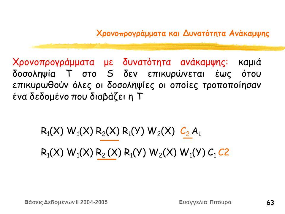 Βάσεις Δεδομένων II 2004-2005 Ευαγγελία Πιτουρά 63 Χρονοπρογράμματα και Δυνατότητα Ανάκαμψης Χρονοπρογράμματα με δυνατότητα ανάκαμψης: καμιά δοσοληψία Τ στο S δεν επικυρώνεται έως ότου επικυρωθούν όλες οι δοσοληψίες οι οποίες τροποποίησαν ένα δεδομένο που διαβάζει η Τ R 1 (X) W 1 (X) R 2 (X) R 1 (Y) W 2 (X) C 2 A 1 R 1 (X) W 1 (X) R 2 (X) R 1 (Y) W 2 (X) W 1 (Y) C 1 C2