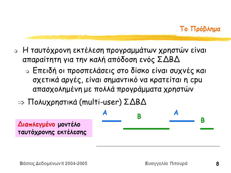 Βάσεις Δεδομένων II 2004-2005 Ευαγγελία Πιτουρά 39 Ορισμός Χρονοπρογράμματος Επίσης, ζητάμε να μην περιέχει ενεργές δοσοληψίες (πλήρες) Ένα πλήρες χρονοπρόγραμμα (schedule) S των δοσοληψιών T 1, T 2,.., T n είναι ένα σύνολο από πράξεις και μια μερική διάταξη των πράξεων αυτών με τους ακόλουθους περιορισμούς: (i) οι πράξεις του S είναι ακριβώς οι πράξεις των T 1, T 2,.., T n συμπεριλαμβανομένης μιας πράξης ακύρωσης ή επικύρωσης ως τελευταίας πράξης σε κάθε δοσοληψία στο χρονοπρόγραμμα (ii) για κάθε δοσοληψία T i που συμμετέχει στο S οι πράξεις της T i στο S πρέπει να εμφανίζονται με την ίδια σειρά που εμφανίζονται στην T i (iii) Για κάθε ζεύγος συγκρουόμενων πράξεων, μια από τις δύο πρέπει να προηγείται της άλλης στο χρονοπρόγραμμα