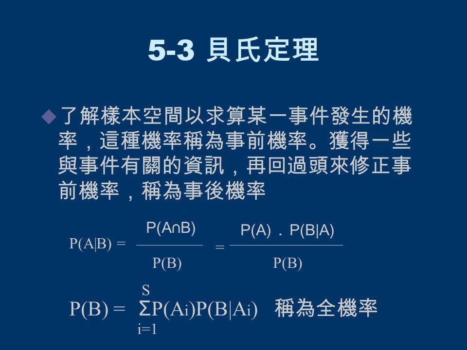 5-3 貝氏定理  了解樣本空間以求算某一事件發生的機 率,這種機率稱為事前機率。獲得一些 與事件有關的資訊,再回過頭來修正事 前機率,稱為事後機率 P(A|B) = P(A∩B) P(B) = P(A) . P(B|A) P(B) P(B) = Σ P(A i )P(B|A i ) 稱為全機率