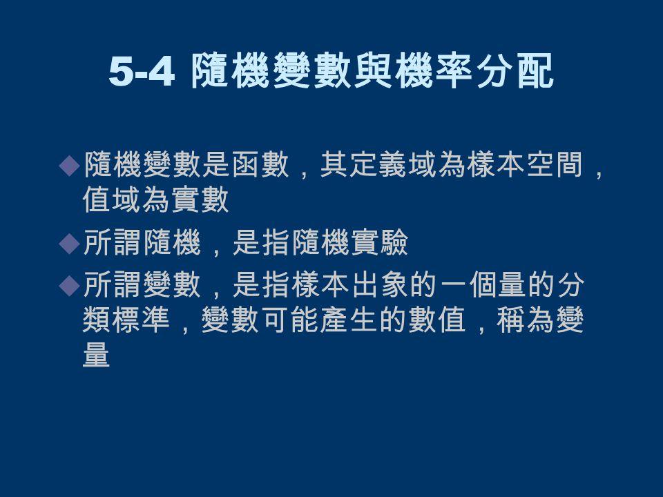 5-4 隨機變數與機率分配  隨機變數是函數,其定義域為樣本空間, 值域為實數  所謂隨機,是指隨機實驗  所謂變數,是指樣本出象的一個量的分 類標準,變數可能產生的數值,稱為變 量