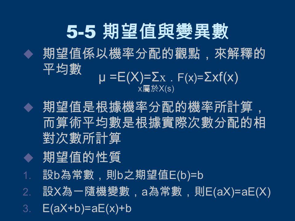 5-5 期望值與變異數  期望值係以機率分配的觀點,來解釋的 平均數  期望值是根據機率分配的機率所計算, 而算術平均數是根據實際次數分配的相 對次數所計算  期望值的性質  設 b 為常數,則 b 之期望值 E(b)=b  設 X 為一隨機變數, a 為常數,則 E(aX)=aE(X)  E(aX+b)=aE(x)+b μ =E(X)=Σ x . F(x)= Σxf(x) x 屬於 X(s)