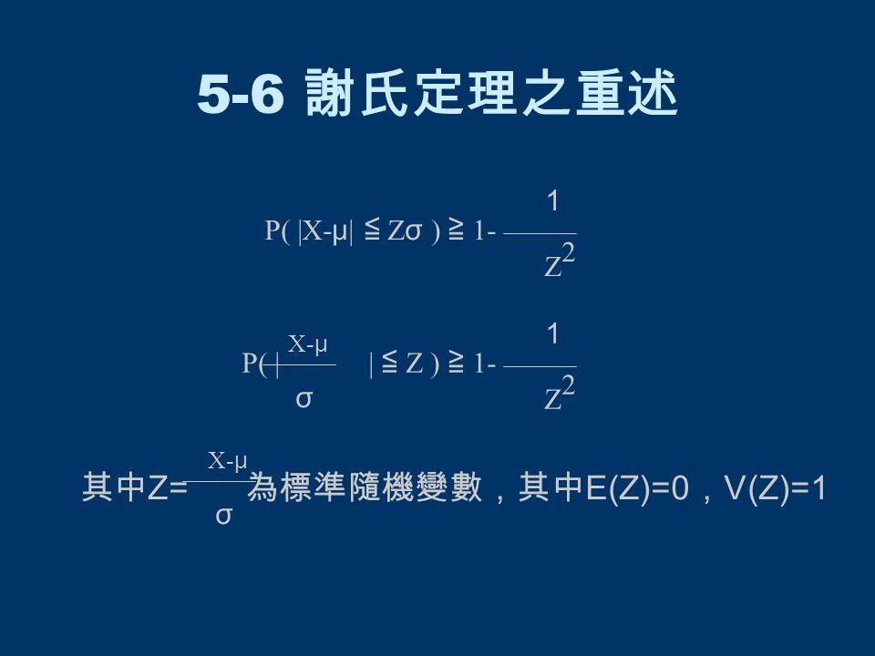 5-6 謝氏定理之重述 P( |X- μ | ≦ Z σ ) ≧ 1- 1 Z 2 Z P( | | ≦ Z ) ≧ 1- 1 2 X- μ σ σ 其中 Z= 為標準隨機變數,其中 E(Z)=0 , V(Z)=1