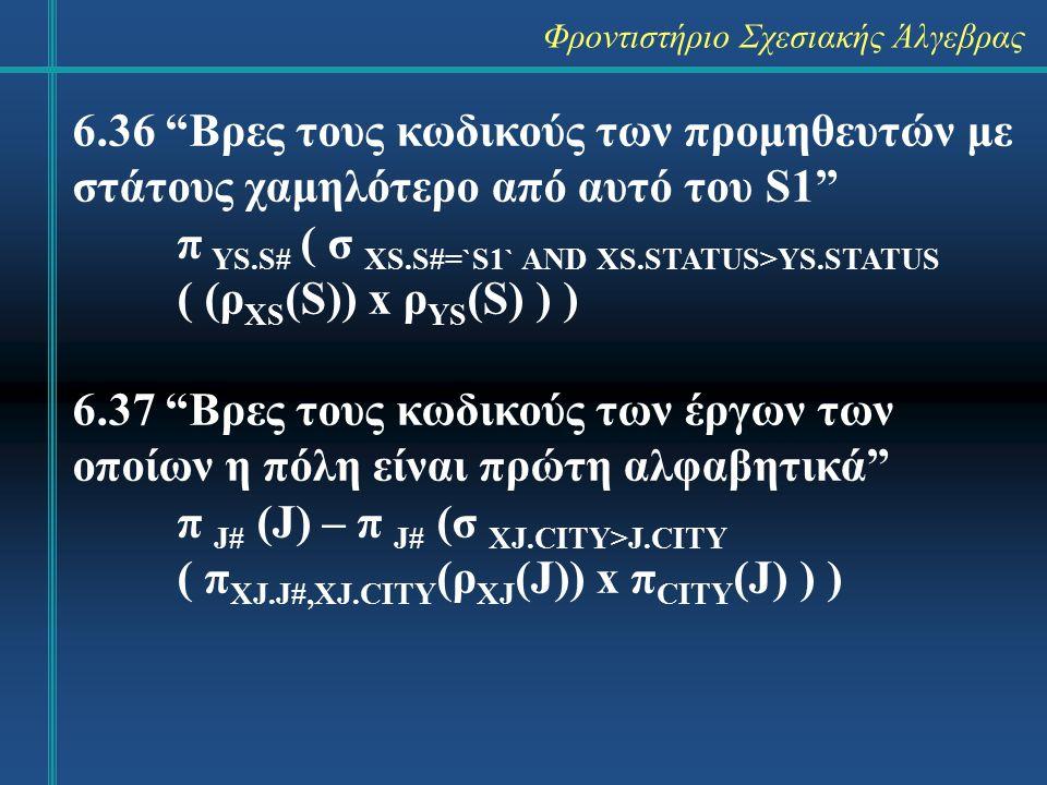 Φροντιστήριο Σχεσιακής Άλγεβρας 6.36 Βρες τους κωδικούς των προμηθευτών με στάτους χαμηλότερο από αυτό του S1 π YS.S# ( σ XS.S#=`S1` AND XS.STATUS>YS.STATUS ( (ρ XS (S)) x ρ YS (S) ) ) 6.37 Βρες τους κωδικούς των έργων των οποίων η πόλη είναι πρώτη αλφαβητικά π J# (J) – π J# (σ XJ.CITY>J.CITY ( π XJ.J#,XJ.CITY (ρ XJ (J)) x π CITY (J) ) )