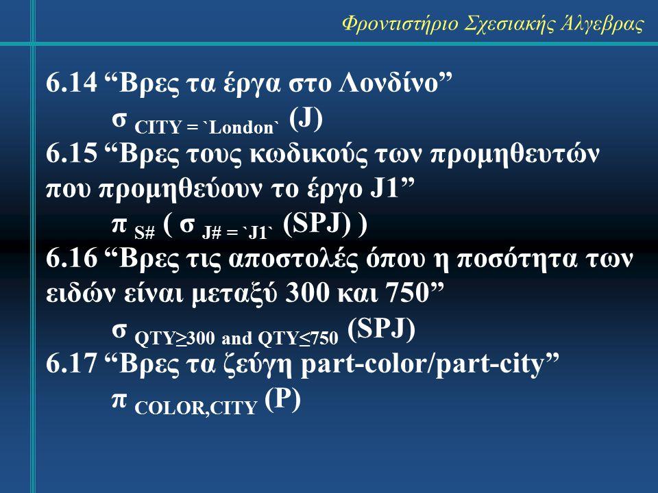 Φροντιστήριο Σχεσιακής Άλγεβρας 6.14 Βρες τα έργα στο Λονδίνο σ CITY = `London` (J) 6.15 Βρες τους κωδικούς των προμηθευτών που προμηθεύουν το έργο J1 π S# ( σ J# = `J1` (SPJ) ) 6.16 Βρες τις αποστολές όπου η ποσότητα των ειδών είναι μεταξύ 300 και 750 σ QTY≥300 and QTY≤750 (SPJ) 6.17 Βρες τα ζεύγη part-color/part-city π COLOR,CITY (P)