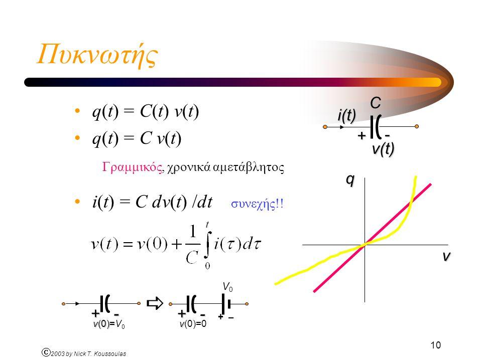 Ó 2003 by Nick T. Koussoulas 10 Πυκνωτής q(t) = C(t) v(t) q(t) = C v(t) Γραμμικός, χρονικά αμετάβλητος i(t) = C dv(t) /dt συνεχής!! v qCi(t) + - v(t)