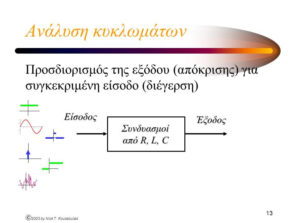 Ó 2003 by Nick T. Koussoulas 13 Ανάλυση κυκλωμάτων Προσδιορισμός της εξόδου (απόκρισης) για συγκεκριμένη είσοδο (διέγερση) Συνδυασμοί από R, L, C Είσο