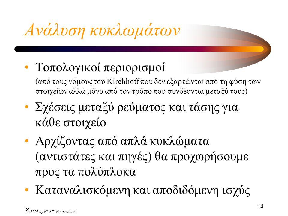 Ó 2003 by Nick T. Koussoulas 14 Ανάλυση κυκλωμάτων Τοπολογικοί περιορισμοί (από τους νόμους του Kirchhoff που δεν εξαρτώνται από τη φύση των στοιχείων