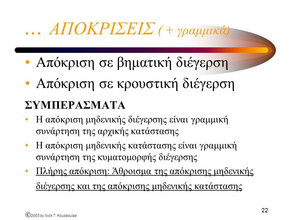 Ó 2003 by Nick T. Koussoulas 22... ΑΠΟΚΡΙΣΕΙΣ ( + γραμμικά) Απόκριση σε βηματική διέγερση Απόκριση σε κρουστική διέγερση ΣΥΜΠΕΡΑΣΜΑΤΑ Η απόκριση μηδεν