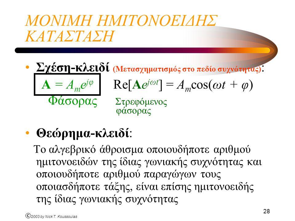 Ó 2003 by Nick T. Koussoulas 28 ΜΟΝΙΜΗ ΗΜΙΤΟΝΟΕΙΔΗΣ ΚΑΤΑΣΤΑΣΗ Σχέση-κλειδί (Μετασχηματισμός στο πεδίο συχνότητας) : A = A m e jφ Re[Ae jωt ] = A m cos